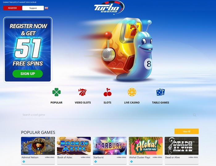 Turbo Casino website